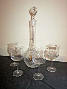 Vintage-Wine-Decanter-amp-Glasses-Set-Etched-Glass-Crystal-Made-in-Romania