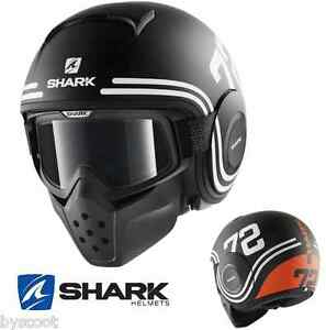 casque shark raw 72 mat noir orange lunette jet moto scooter football am ricain ebay. Black Bedroom Furniture Sets. Home Design Ideas