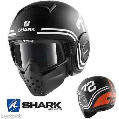 Casque SHARK RAW 72 Mat noir orange lunette jet moto scooter Football Américain
