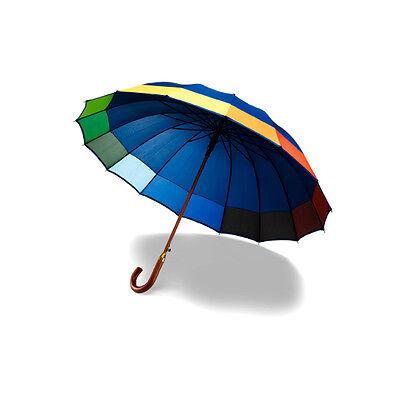 Sleek Rainbow Trimmed Automatic Walking Umbrella in Navy with wooden hook handle