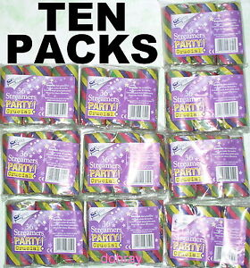 10-PACKS-of-STREAMERS-over-mile-of-034-multicoloured-paper-party-decorations