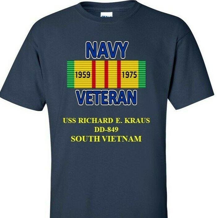 USS RICHARD E.KRAUS DD-849 NAVY VIETNAM CAMPAIGN RIBBON & VINYL SHIRT SWEAT