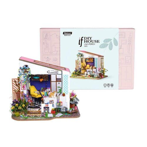 Genuine Robotime Lily/'s Porch DIY Miniature Dollhouse 3D wooden model kit AUS