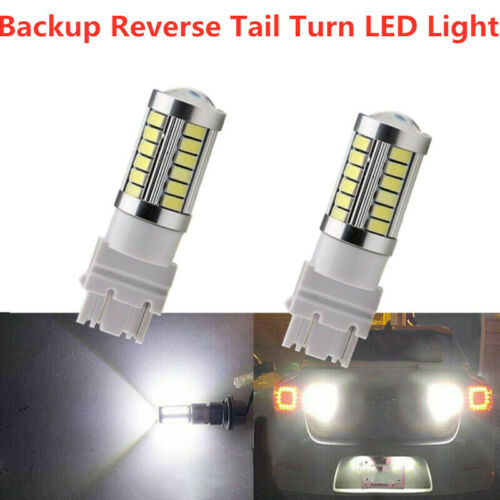 2x White 3157 3457 3057 Signal 33SMD Backup Reverse Tail Turn LED Lights Bulbs