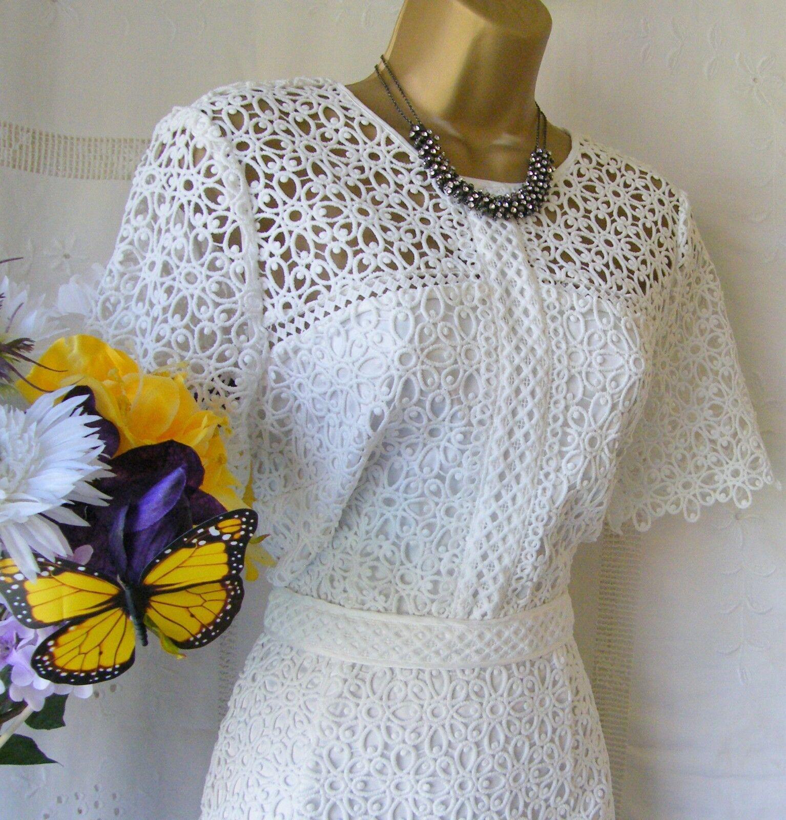 MONSOON BNWT  VINCENZINA Weiß  LACE DRESS Größe 14