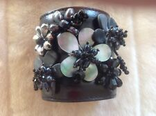 3.5 Inches Wide Brown Leather Bracelet with Mother of Pearl and Crystal Flowers
