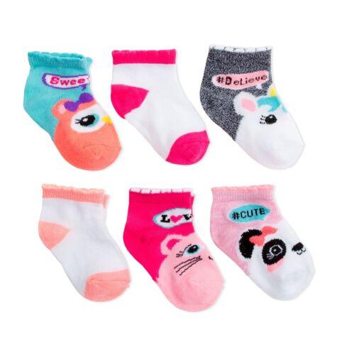 Baby /& Toddler Girls 6 Pk Animal Ankle Socks NEW 0//6 6//18 or 18//36 Months