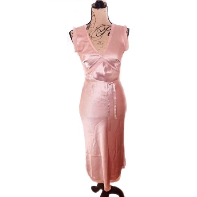 Calypso St. Barth Light Pink 100% Silk Tie-Waist Midi Dress Size 2