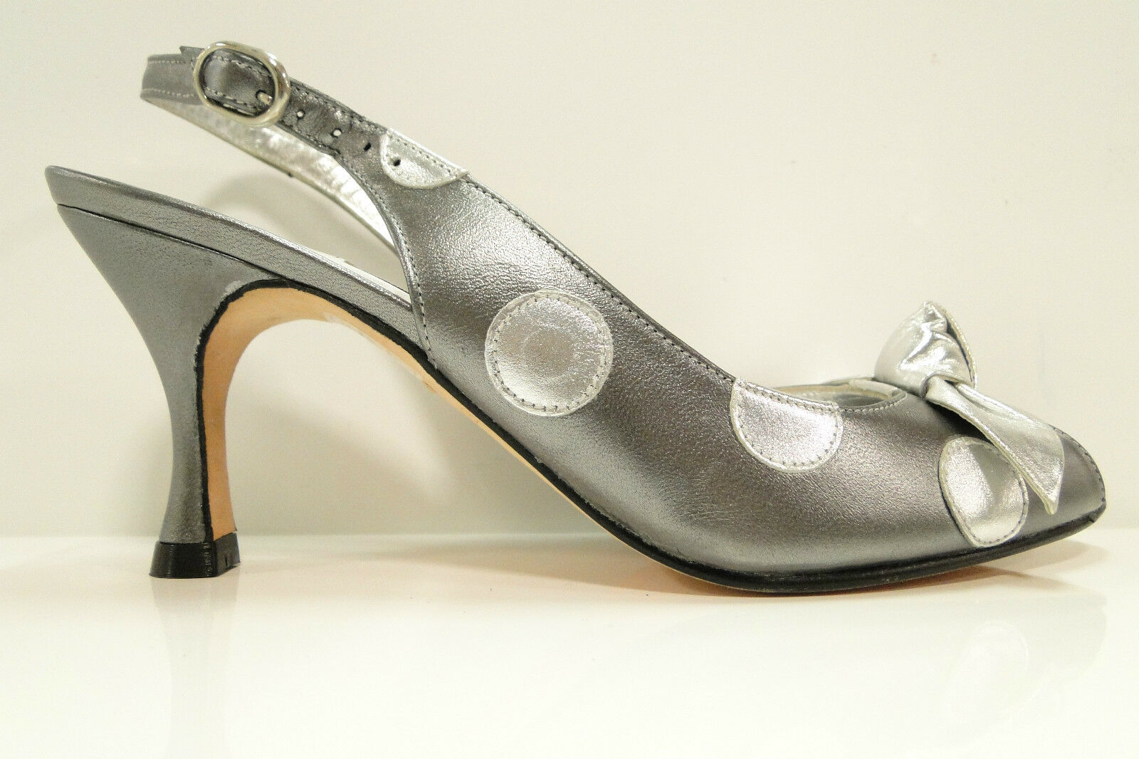 HB Espana Gitana Slingback Peep Toe Heel Court Shoes Grey/Sil UK3.5 By HB Shoes