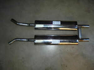 Triumph STAG ** SPORTS ** EXHAUST CENTRE boxes Pair STAINLESS **Straight through