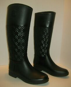 1ab77f2de0d4ce Image is loading TORY-BURCH-MARION-QUILTED-RAIN-BOOT-RAINBOOT-BLACK-