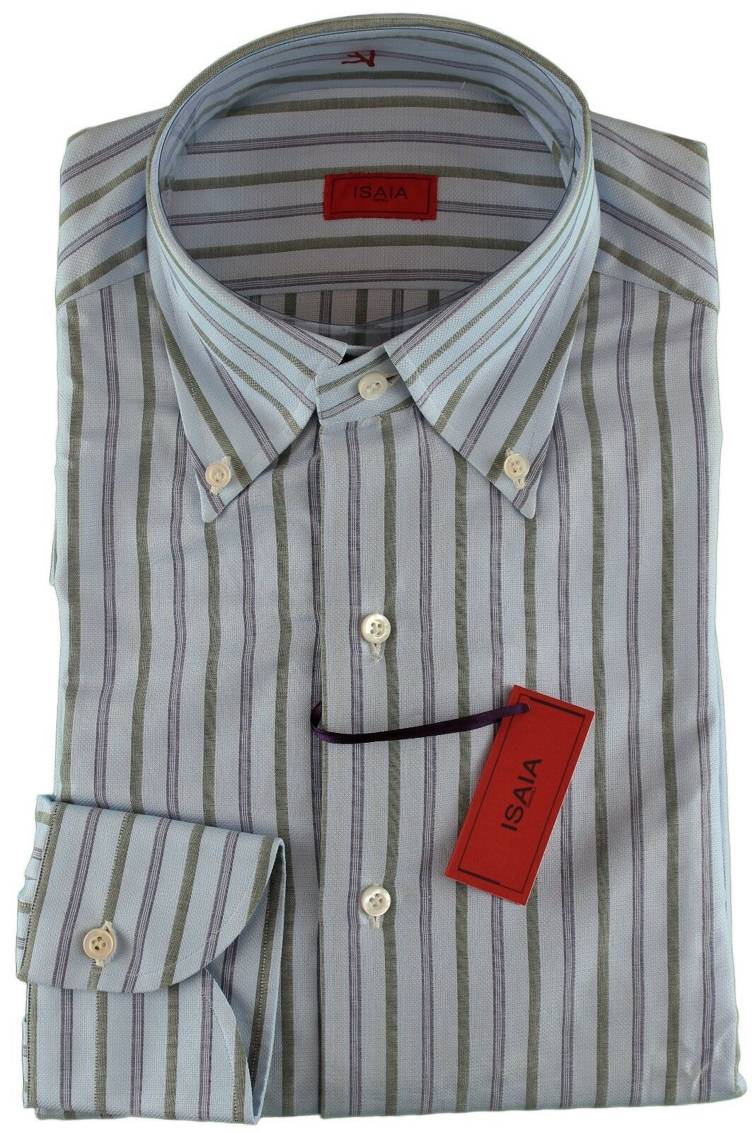 NWT ISAIA DRESS hemd sky Blau Grün striped luxury handmade  40 15 3 4