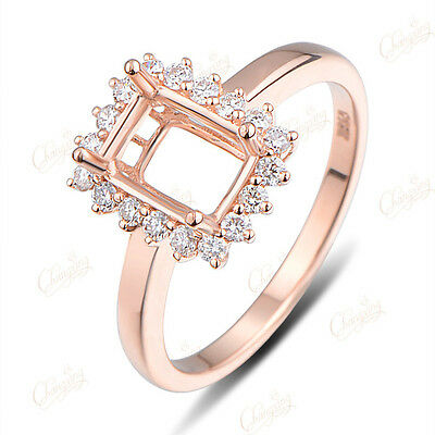 Emerald 5x7mm 14k Rose Gold Natural 0.32ct Brilliant Cut Diamond Ring Setting