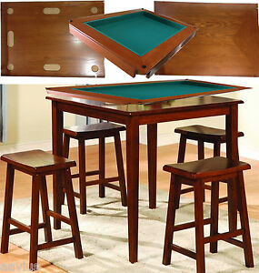 Harvard 5 Piece Family Game Table Square High Pub Set Bar