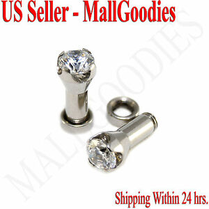 1255-Screw-on-fit-Clear-Solid-CZ-Prongs-Ear-Plugs-Retainers-6-Gauge-6G-4mm