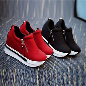 2018-Women-039-s-Ankle-Boots-Wedge-Heel-Trainers-High-Top-Sneakers-Zip-Shoes-Casual