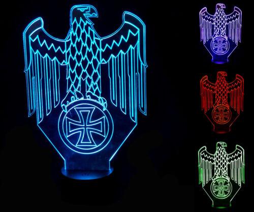 LED Lampe Leuchte Adler mit eisernem Kreuz Deko Lichwechsel