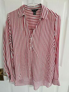 NEW-LOOK-WOMENS-RED-WHITE-STRIPED-SHIRT-BLOUSE-SIZE-8-PIT-TO-PIT-20-LENGTH-31