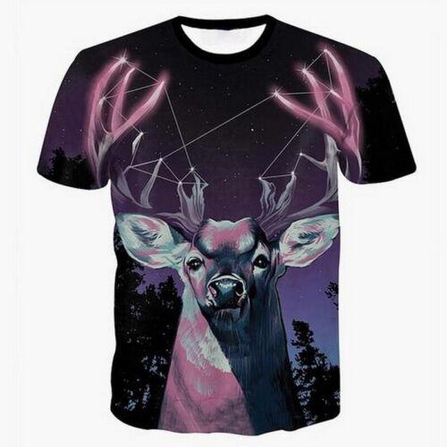 Women Men Fun Animals 3D Printing T-Shirt Casual Crew Neck Short Sleeve Top Tees