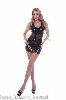 Black Latex Rubber Mini Dress 12 - 14 2nd NR