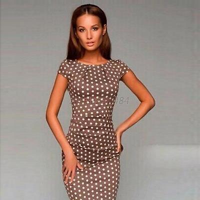 Sexy Bodyocn Women Casual Polka Dot Print Dress Clubwear Party Evening Dress A43