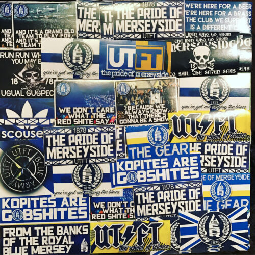 100 x Everton Ultra Style Stickers inspired by EFC Goodison Programme Cap UTFT