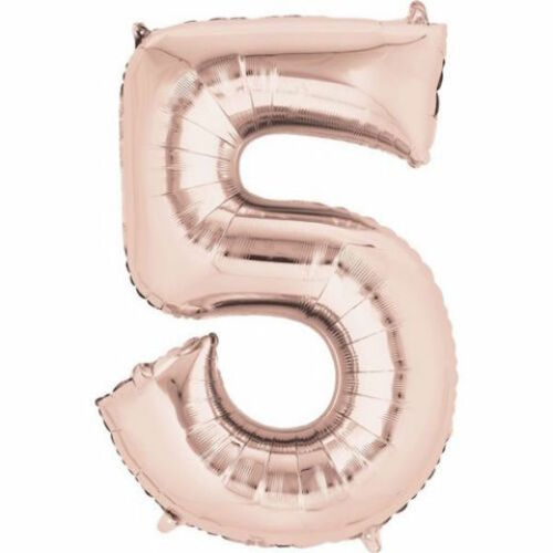 """16/"""" Rose Gold Number 5 Air Filled Foil Balloon 5th Birthday Party Supplies"""