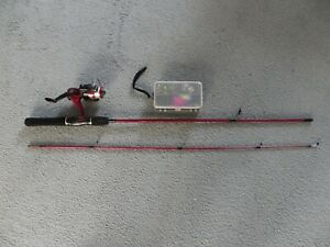 Zebco-1-7M-2-Piece-Light-Weight-Rod-with-Reel-amp-Box-of-Assorted-Hooks-amp-Things