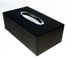 NEW Real Black Leather Tissue Box Cover Rectangular Crocodile Storage Holder Car