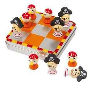 Spiele Tic Tac Toe Piraten magnetisch Ludo Brettspiel Kinder Holz Gesellschaftsspiel