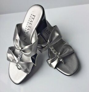 ITALIAN-SHOEMAKER-Leather-Slip-On-Heel-Sandal-Silver-Ladies-Sz-7-5-Womens-38-K-8