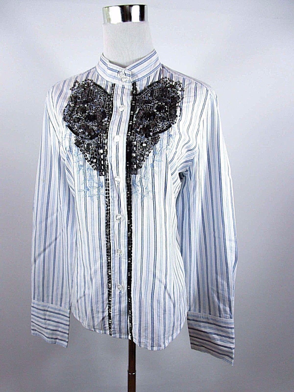 NIENHAUS WOMAN Embellished Women Casual Striped Print Cotton Shirt sz 16 XL BD41