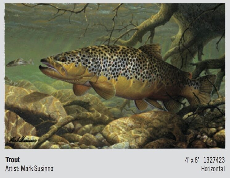 Beautiful 4' x 6' TROUT Wildlife Entrance Mat
