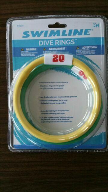4 pk DIVE RINGS Game Multi-Colored Toy POOL Underwater Diving Easy Scoop 9135