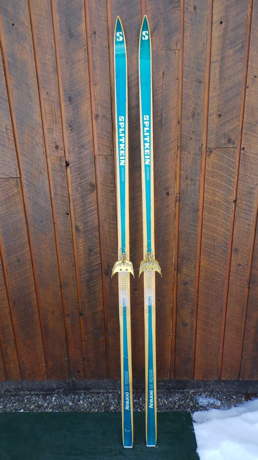VINTAGE Wooden 75  Long Green + Wood color Skis Signed SPLITKEIN + Bamboo Poles