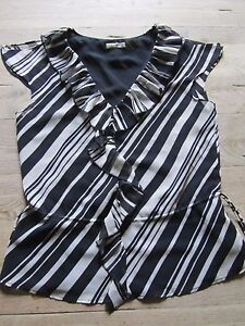 BLACK-WHITE-STRIPED-SLEEVELESS-LINED-BLOUSE-TOP-SIZE-8-PLANET