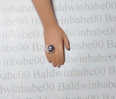 L BARBIE DOLL PLASTIC SILVER CONVEX MATTEL ACCESSORY RING HJ ~ JEWELRY