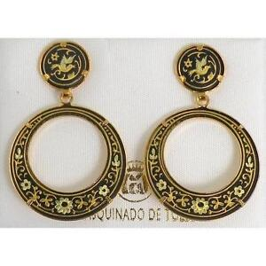 Damascene-Gold-28mm-Round-Dove-of-Peace-Drop-Earrings-by-Midas-of-Toledo-Spain