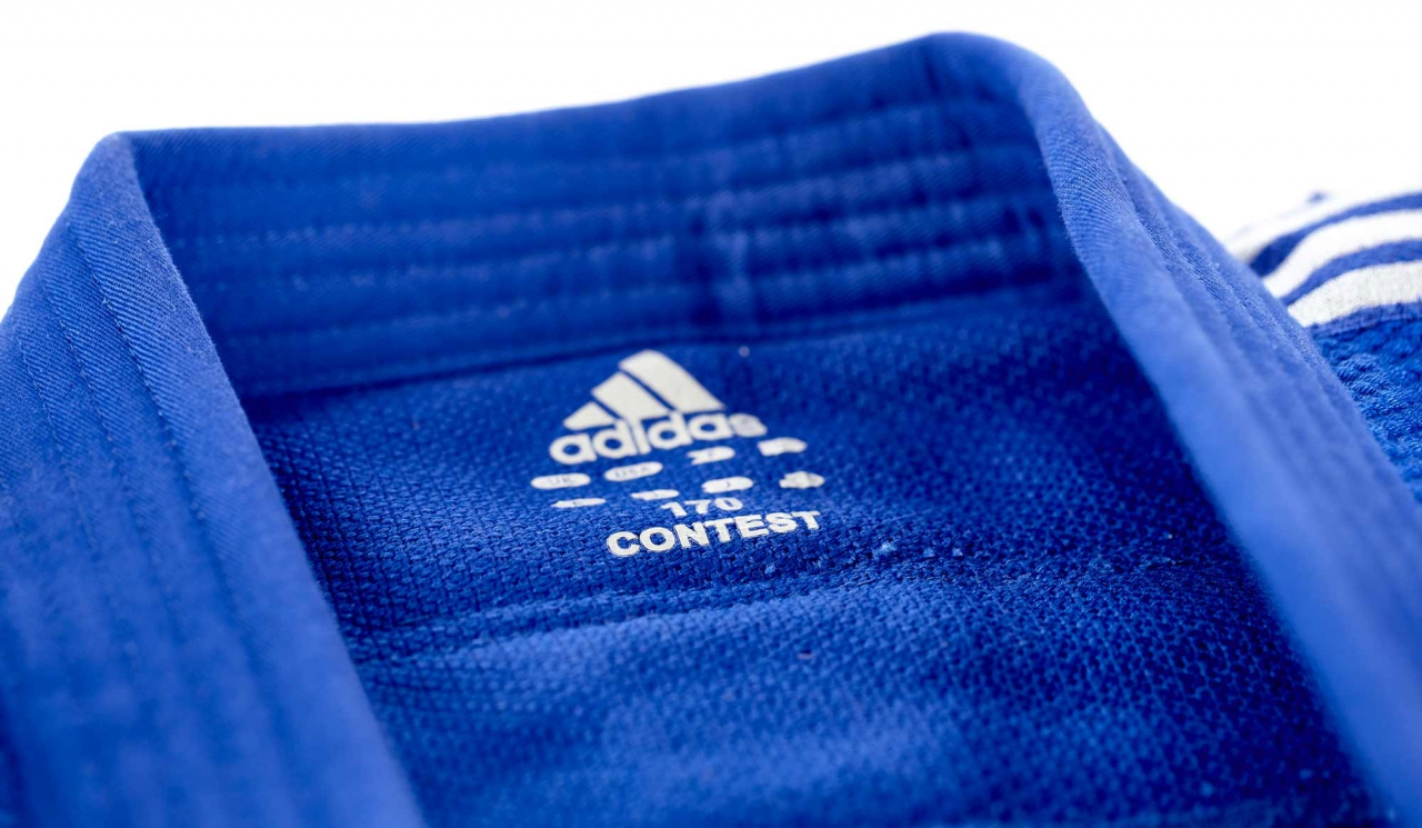 Adidas Judo-Anzug  Contest Contest Contest  blau silberne Streifen Gr. 155 - 205 Judo Karate b529a3