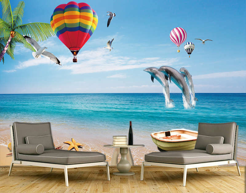 Bouncing Big Dolphin 3D Full Wall Mural Photo Wallpaper Printing Home Kids Decor