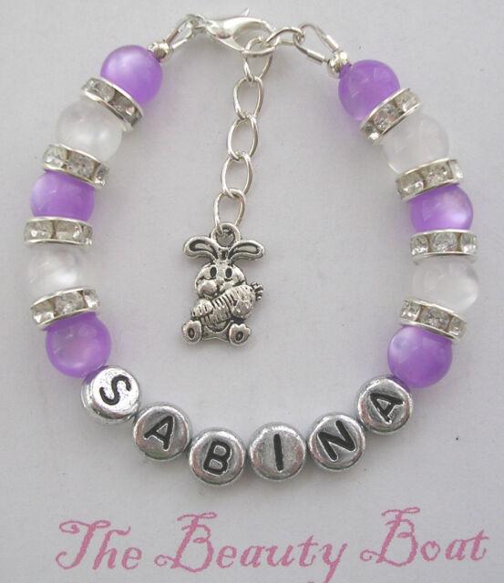 S Lilac Rhinestone Bunny Rabbit Bracelet Personalised With