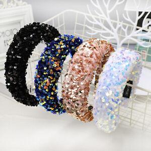 Sequin-Padded-Headband-Women-039-s-Hairband-Wide-Hair-Band-Hoop-Accessories