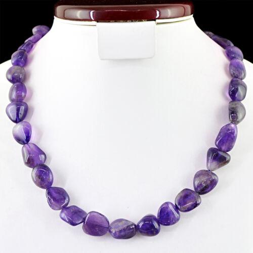 Meilleure Qualité 405.00 Cts Naturel Riche Violet Améthyste Perles Collier Strand