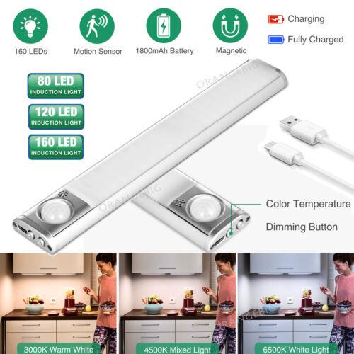 80//120//160LED Lamp PIR Motion Sensor Closet Cabinet Night Light USB Rechargeable