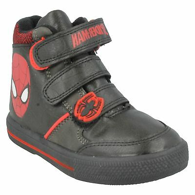 BOYS MARVEL SPIDERMAN CRAWL BOOTS RED BLACK HIGH TOP TRAINERS SIZE 1 - 7