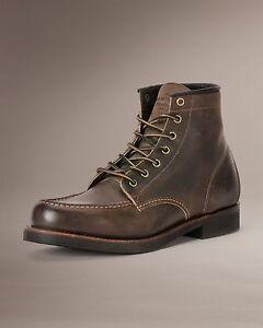 Mens Frye Boots Arkansas Moc Toe Laceup Gaucho Brown