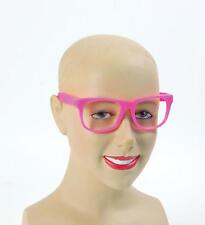 Pink Frame Clear Lense Glasses Barbie Geek Festival Rave Party Fancy Dress