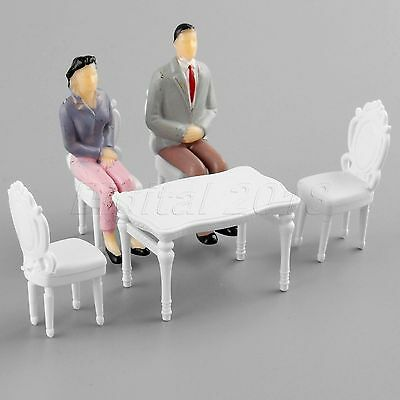 1Set White European Square Table /& Chair Plastic Model 1:25 Scale DIY Craft