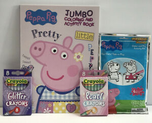 4pc Set Peppa Pig Jumbo Coloring Activity Book Glitter & Pearl Crayons Pop-Outz