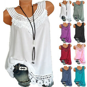e4dd90f763b427 Women Ladies Sleeveless Lace Baggy Casual Vest Tops Blouse Tank Top ...